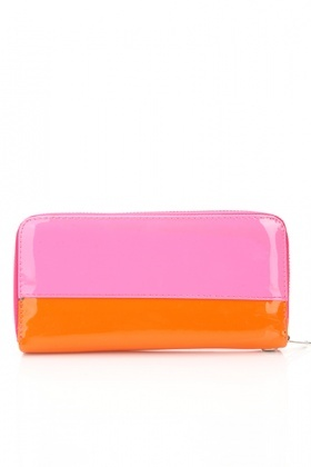 Two Tone Hot Pink & Orange PVC Purse