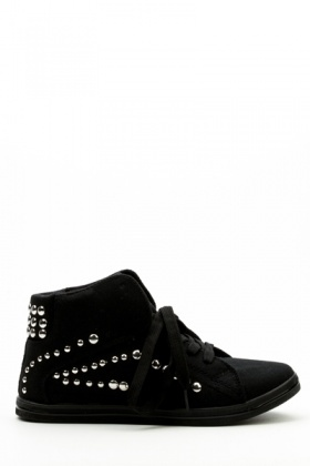 Studded Hi-Top Canvas Shoes