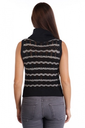 Sheer Knit Sleeveless Hi-Neck Pullover