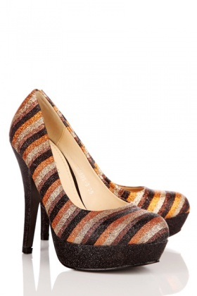 Glitter Striped Platform Heel Shoes