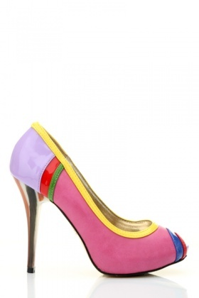 Colour Block Peep Toe Heel Shoes