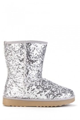 Sequined Silver Snug Boots