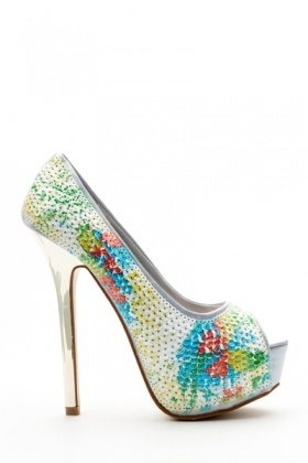 Sequined Peep Toe Heels