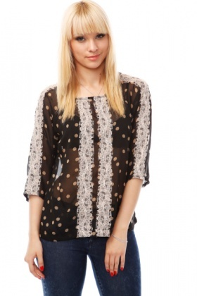 Lace Trims Polka Dot Blouse