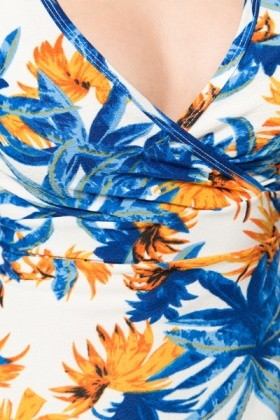Tropical Wrap A-Line Dress