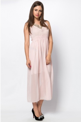 Stud Embellished Neckline Maxi Dress