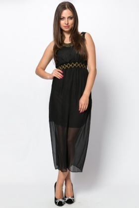 Embellished Neckline & Waist Maxi Dress
