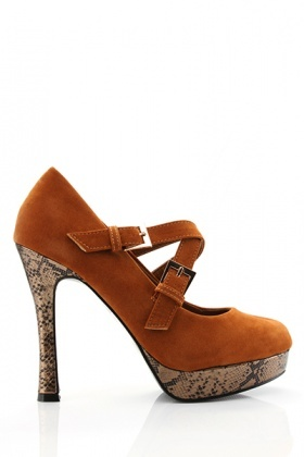 Reptile Skin Effect Platform Cross Strap Shoes