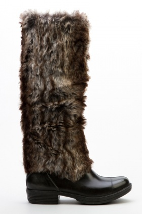 Contrast Faux Fur Long Boots