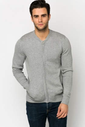 Round Neck Zip Cardigan