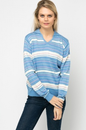 Collared Stripe Knit Pullover