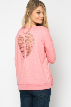 Encrusted Distressed Heart Back Pullover