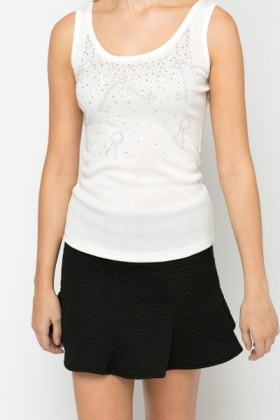 Embellished Key Print Vest Top