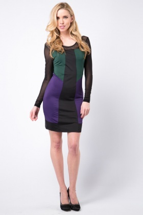 Mesh Insert Colour Block Bodycon Dress
