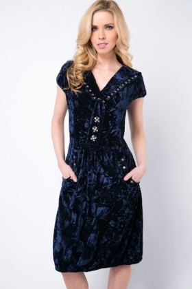 Velveteen Embellished Dress