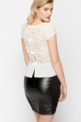 Bow Back Lace Peplum Top