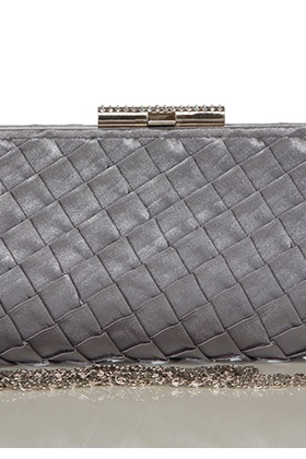 Scaled Satin & Encrusted Bar Clutch Clip Bag