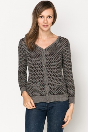 Metallic Pearl Button Cardigan