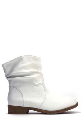 Ruched White Boots