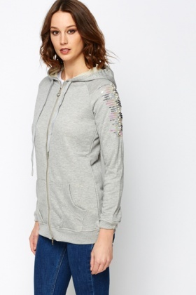 Sequined Sleeve Hooded Jacket