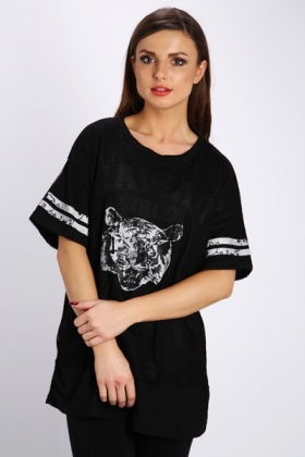Tiger Face Laced Sport Top