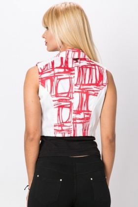 Graphic Biker Style Gilet