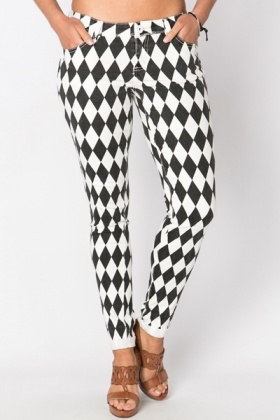 Mono Romb Pattern Trousers