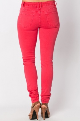 Cotton Blend Red Trousers