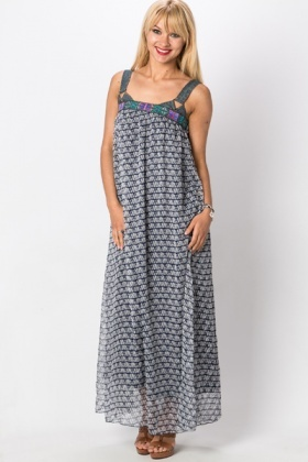 Embroidered Denim Trim Maxi Dress