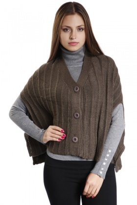 Button Front Loose Knit Poncho