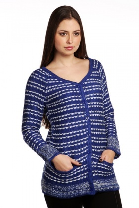 Knit Stripe Button Front Cardigan