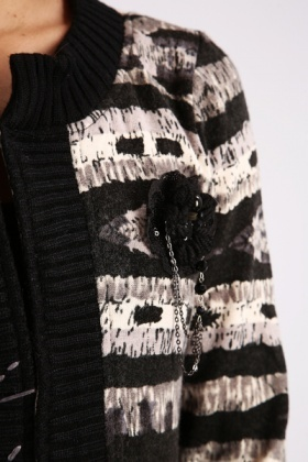 Chain Corsage Paint Cardigan