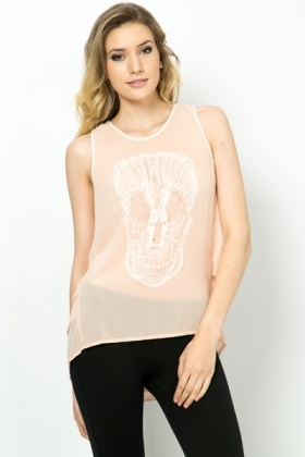 Skull Embellished Sheer Top