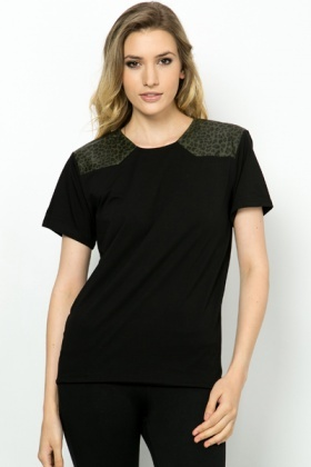 PU Leopard Print Shoulder Top