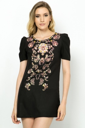 Embellished Royal Shift Dress