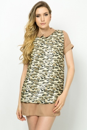 Sequin Leopard Print Tunic Dress