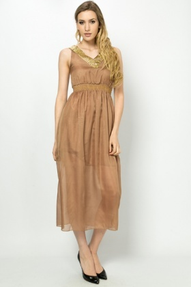 Studded Neckline & Embroidered Waist Maxi Dress