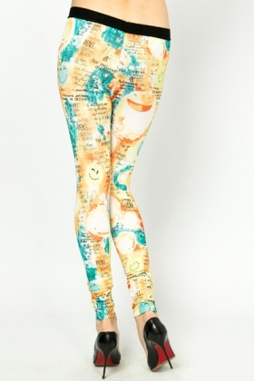 Smiley Face & Graffiti Print Leggings