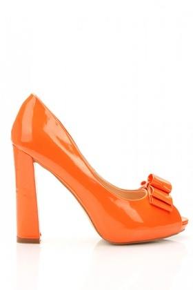 Bow Peep Toe Patent PVC Shoes