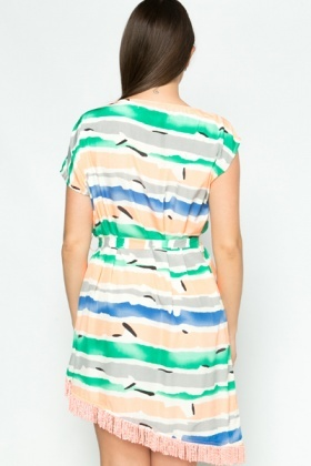 Tasselled Colour Stripe Tunic Dress