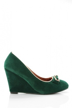 Metal Bow Wedge Velour Shoes