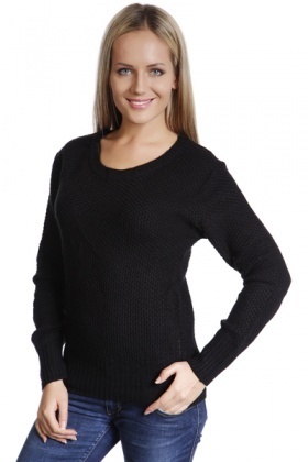 Knitted Round Neck Black Jumper