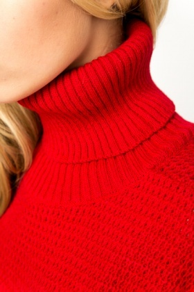 Roll Neck Mix Knit Pullover