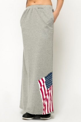 Encrusted Flag Print Maxi Skirt