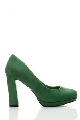 Block Heel Suedette Court Shoes
