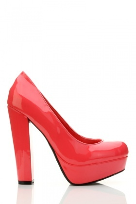 Block Heel PVC Court Shoes