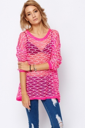 Patterned Lace Knit Pullover