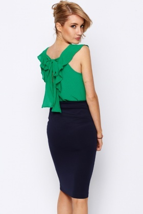 Bow Back Frilled Textured Blouse