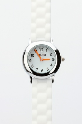 Round Face Rubber Strap Watch