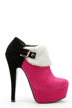 Contrast Fleece Trim Ankle Boots